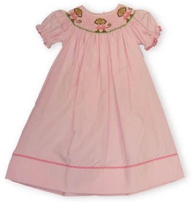 Anavini Three Little Monkeys Standing on the Ground smocked pink bishop dress with pink ric rac on the sleeve. Comes in long sleeve or short sleeve.