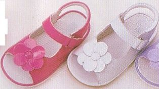 Angel baby girls very soft leather open toed sandals with flower, velcro strap, and rubber sole to prevent slipping.