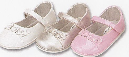 Angel N210 leather mary jane shoes that velcro and with three flowers on the toe. Comes in white, silver and patent pink.