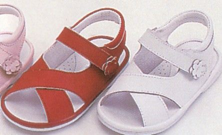 Angel very soft leather cross over sandal with a flower on the strap that velcros for an easy fit and a rubber sole to keep from slipping. Adorable. Comes in red and white.