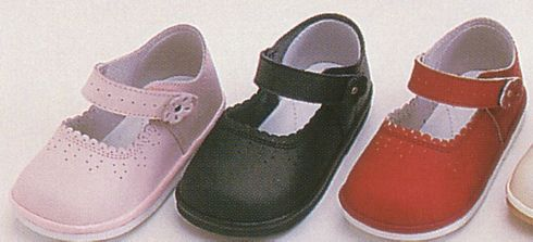 Angel very soft leather mary jane shoes with scalloped edging and a flower on the strap that velcros. A rubber sole to keep from slipping. Great shoe. Comes in pink,black and red.
