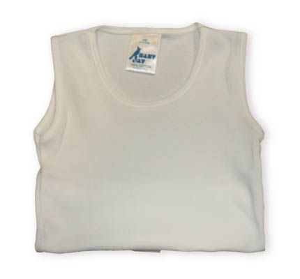 Baby Jay Arianna white sleeveless shirt that is great as an undershirt or just a simple white top. Very soft.