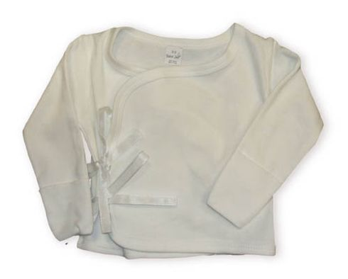 Baby Jay Mackenzie soft white long sleeve wrap. Very comfortable and the sleeves turn over to protect the little hands.