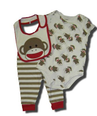 Baby Starters Sock Monkey three piece pant set with a matching bib. Very soft and great for everyday wear.