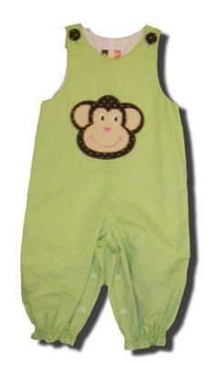 Banana Split girls clothes Monkey Village longall with an appliqued monkey on the front. Fun for your little monkey and matches the boys.