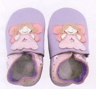 Bobux baby girl very soft lilac leather shoes with muave angel and suede sole to prevent slipping. These shoes are made to stay on and are recommended by doctors. Wonderful year round shoes for your infant or toddler girl!