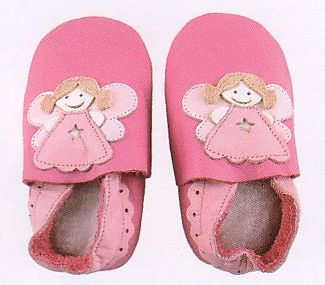 Bobux baby girl very soft rose leather shoes with angel and suede sole to prevent slipping. These shoes are made to stay on and are recommended by doctors. Wonderful year round shoes for your infant or toddler girl!