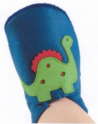 Bobux Cobalt leather shoe with adorable dino design. Soft leather shoe with a suede sole that stays on the child`s foot.