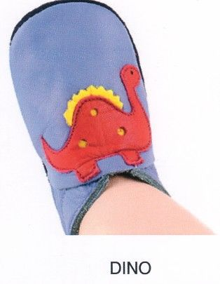 Bobux very soft blue with red dinosaur leather shoes