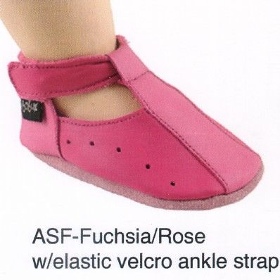 Bobux very soft fuchsia and rose leather shoes with elastic velcro ankle strap.