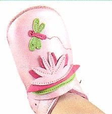 Bobux very soft pearlized pink leather shoes with dragonfly and scalloped ankle trim.