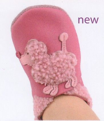 Bobux very soft pink leather shoes with a fuzzy poodle motif.