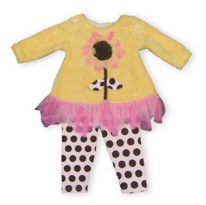 Cach Cach Gardening Queen yellow swing and dot legging set. Super cute and fun.