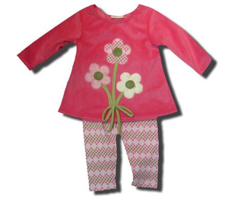 Cach Cach girls clothes Betsy pink minky swing top with three flowers on the front and matching leggings. Very sweet.