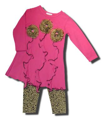 Cach Cach girls clothes Kristin pink tunic with three leopard flowers and matching leopard pants.