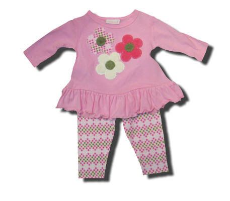 Cach Cach girls clothes Triflower pink shirt with matching patterned leggings and three flowers on the swing top. Super soft.