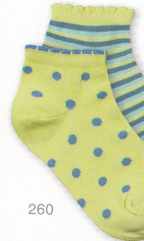 Country Kids 260 Dot and Stripe Cotton Ped Two Pack socks. Bright and sporty peds in lime and turquoise with scalloped edging.