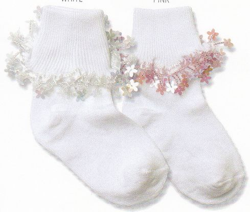 Country Kids 372 Crystal Daisy Cotton Socks. Sparkly daisies swing from a cotton turncuff catching the light at every turn. Comes in white and pink. Beautiful.