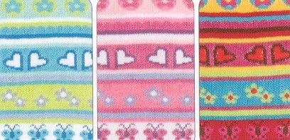 Country Kids girls mostly cotton tights with heart, flower, and butterfly print.