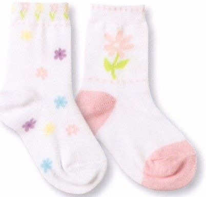 Country Kids Posy two pack. Mostly cotton socks that are a pair of delicate posy patterns for a very femine look.