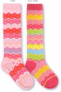 Country Kids soft knee socks that have a bright sherbet confection of colors with wavy stripes and dots.