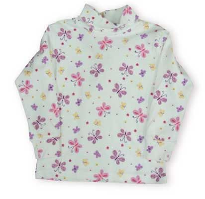 Crokids Butterfly Flurries quality turtleneck is covered with pretty butterfly friends.