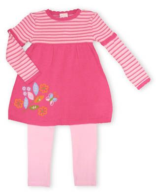 Crokids Butterfly Zoo dress with the colors french rose and a beautiful gentler pink. Has a flower and butterfly scene on the front. Also comes with pink leggings.