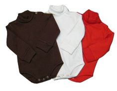Crokids classic brown, white, or red turtleneck onesie that is very comfortable and goes great with many pants. NO 9m brown.