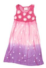 Crokids Crochet Club pink dip dyed sundress with a crocheted top. Fun and flowy.