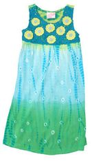 Crokids Crochet Love turquoise dip dyed sundress with a crocheted top. Fun and flowy.