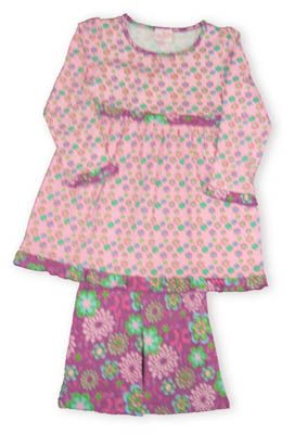 Crokids Dancing Flowers pink dress with many flowers on it and purple leggings with more flowers.