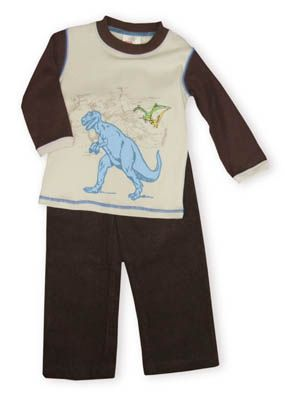 Crokids Dino Chasing dinosaur themed shirt with brown corduroy pants that have an elastic waistband.