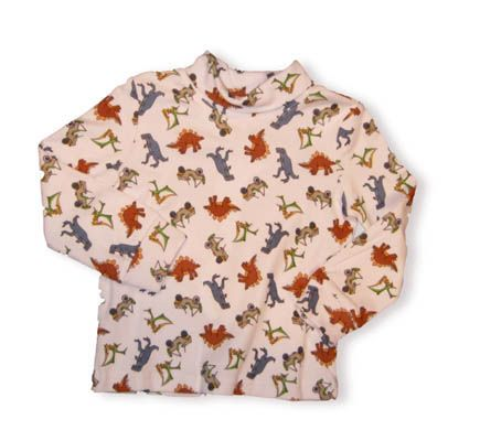 Crokids Dinosaur Alley dinosaur printed turtleneck. It is very soft and great for the cooler weather.