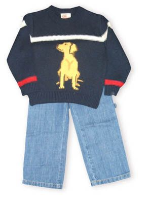Crokids Dogville navy sweater with a dog on it and a white and red stripe. Also comes with denim pants.