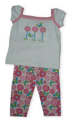 Crokids Fields of Flowers soft pant set with three flowers on the shirt and flower print leggings.