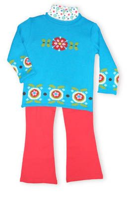Crokids Flower Queen blue sweater with flowers on it and matching red pants and a patterned turtleneck to accompany the outfit.