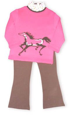 Crokids Free Horse fuchsia sweater with a matching turtleneck underneath and brown leggings to accompany it.