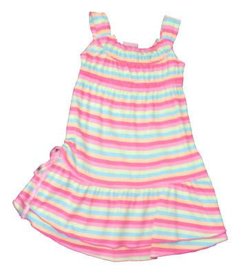 Crokids Geometry Fun pink striped sundress. Very soft material.