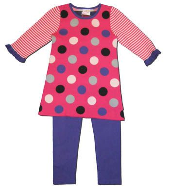 Crokids girls clothes Dreamin Dots pink sweater dress with dots and stripes and matching purple leggings. Very cute and fun for a girl.
