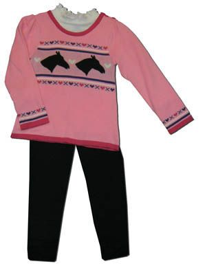 Crokids girls clothes Horse Cottage pink tunic with a horse scene on the front, white turtleneck, and black leggings. This is very cute for your horse lover.