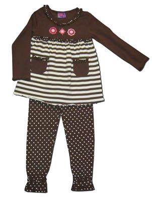 Crokids girls clothes Wildflower Lane brown tunic with stripes and flowers and matching polka dot leggings. Super comfortable and great for school and play.