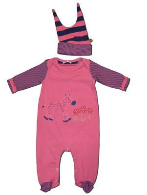 Crokids girls infant clothes Zoo Time pink footie with a zebra smelling the flowers. Also comes with a hat and matches the boys.