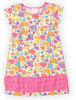 Crokids Heart Overload fun short sleeve dress with hearts printed. So fun and great for your little lovebird.