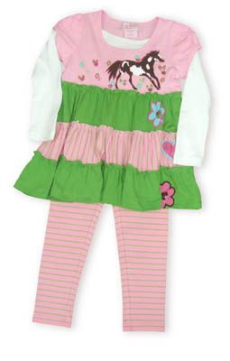 Crokids Horse Prancing green and pink tiered dress with a white shirt underneath and a horse prancing among the butterflies. Also comes with green and pink striped leggings.