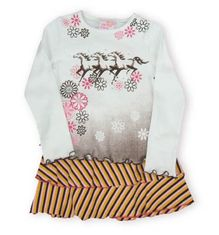 Crokids Horse Tales white tee shirt with horses and flowers. Also comes with matching tiered skirt.