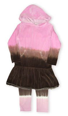 Crokids I`m A Star brown and pink velour hooded dress with a central pocket and matching pants.