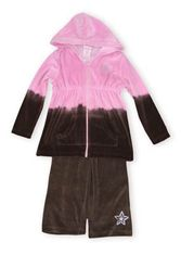 Crokids I`m A Star brown and pink velour hooded warm-up outfit with jacket and pants.