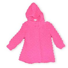Crokids Kelly fuchsia cardigan has four adorable buttons and the coziest hood ever.