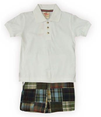 Crokids Members Only white polo shirt and patchwork shorts. Comfortable and great to wear to school and play.