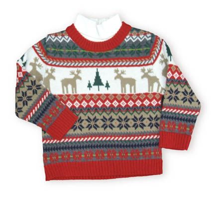 Crokids Moose Crossing handsome sweater with moose and trees on it. Also comes with a soft white turtleneck.